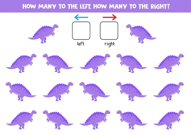 漫画の恐竜スピノサウルスと左または右。左右を学ぶ教育ゲーム。