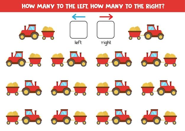 ちょっととトレーラーと漫画の赤いトラクターで左または右。左右を学ぶ教育ゲーム。