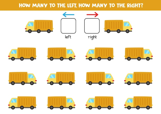 漫画のトラックで左または右。左右を学ぶ教育ゲーム。
