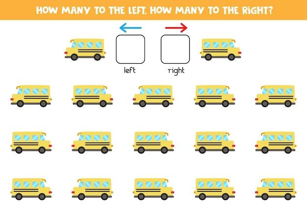 만화 노란색 스쿨 버스가있는 왼쪽 또는 오른쪽. 좌우를 배우는 교육용 게임.