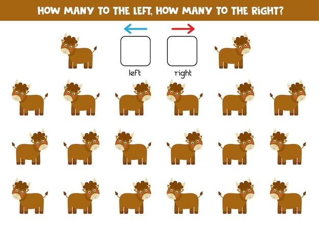 귀여운 만화 황소와 함께 왼쪽 또는 오른쪽. 좌우를 배우는 교육용 게임.