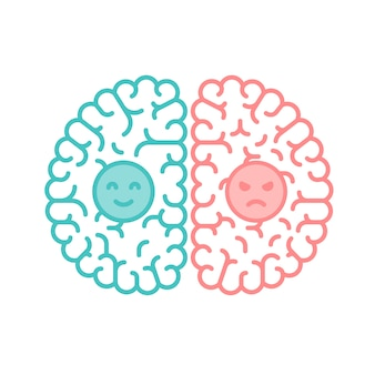 Left and right brain, happy and moody concept outline stroke