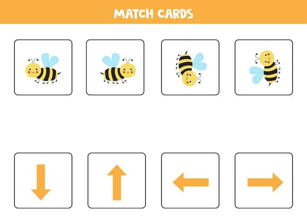 左、右、上または下。かわいい蜂との空間的な向き。
