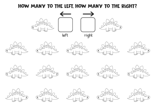 Left or right with black and white dinosaur. logical worksheet for preschoolers.