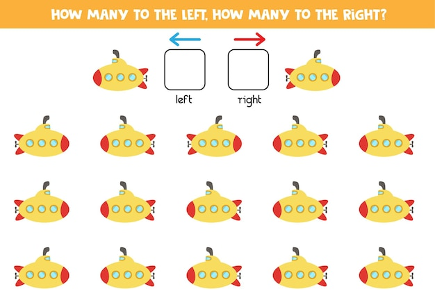 Left or right with cartoon submarine. educational game to learn left and right.