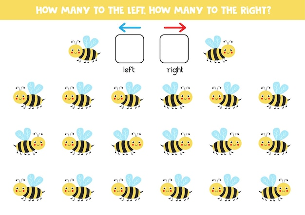 Left or right with cute bee. educational game to learn left and right.