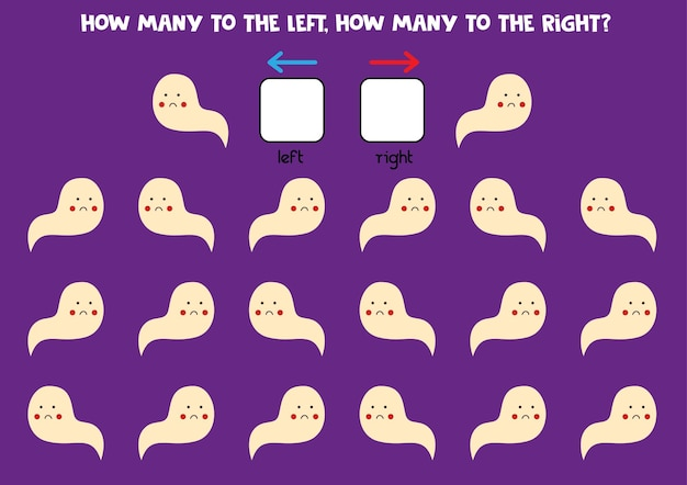 Left or right with cute halloween ghost. educational game to learn left and right.