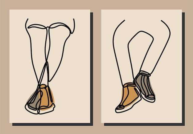 Кроссовки для ног, спортивная обувь, одна линия, непрерывная линия