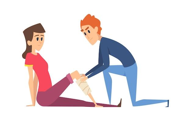 Травма ноги. женщина с повязкой, мужчина помогает молодой девушке. хирургия первой помощи, медсестра и пациент векторные иллюстрации. травмированная нога, лекарство сломано, несчастный случай