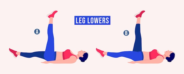 Leg lowers exercise woman workout fitness aerobic and exercises