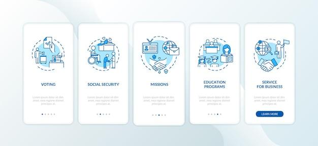 개념이 있는 모바일 앱 페이지 화면을 온보딩하는 법률 관리. 비즈니스 및 교육입니다. 대사관 서비스 연습 5단계 그래픽 지침. rgb 컬러 일러스트가 있는 ui 벡터 템플릿