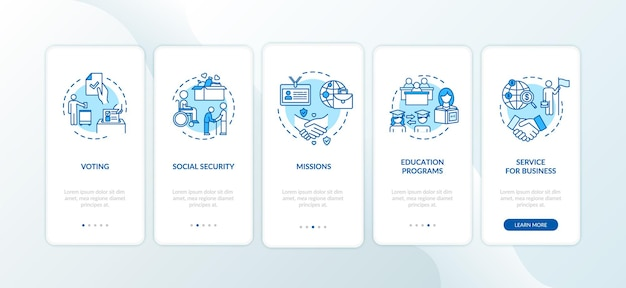 Legal administration onboarding mobile app page screen with concepts. business and education. embassy services walkthrough 5 steps graphic instructions. ui vector template with rgb color illustrations