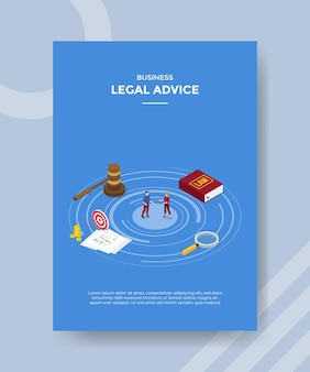 Концепция юридической консультации для шаблона флаера для печати в изометрическом стиле