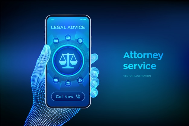 Legal advice concept on smartphone screen.closeup smartphone in wireframe hand.