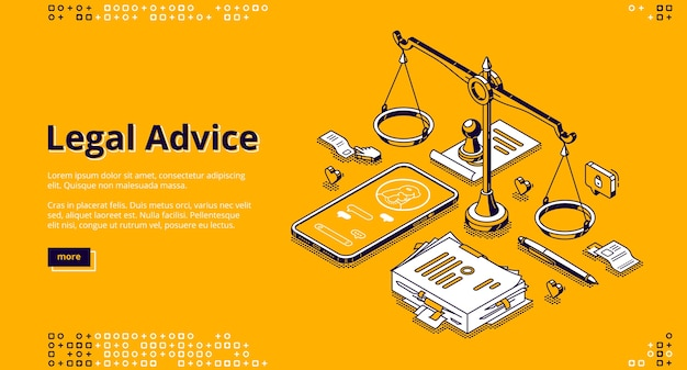 Юридическая консультация изометрической целевой страницы. онлайн-помощь юриста для урегулирования правовых вопросов и соблюдения правил. услуги адвоката, 3d баннер с весами, телефоном и документами