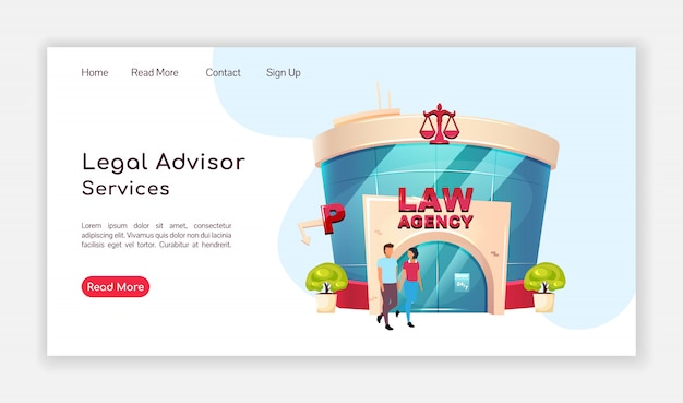 Legal advisor services landing page  color  template. law agency homepage layout. lawyer consultation one page website interface with cartoon illustration. notary web , webpage