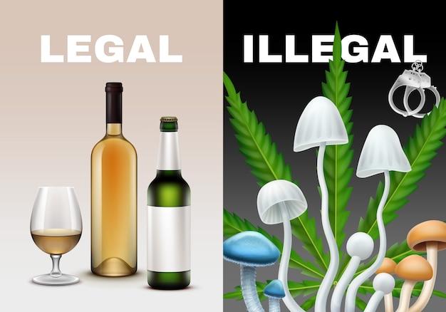 法的および違法な薬物のイラスト。アルコールキノコ、マリファナ