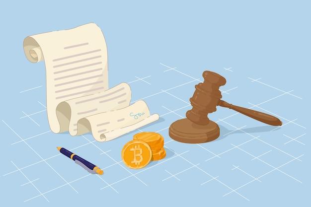 Законные биткойн-деньги, судья согласен с законом о контроле. платежи криптовалюты и регулирование торгового законодательства, молот правосудия, согласованный документ с подписью и ручкой векторная иллюстрация