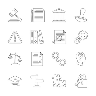 Legal compliance and regulation line icons