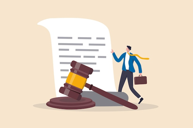 Legal document attorney or court professional office law and judgment approval paper concept