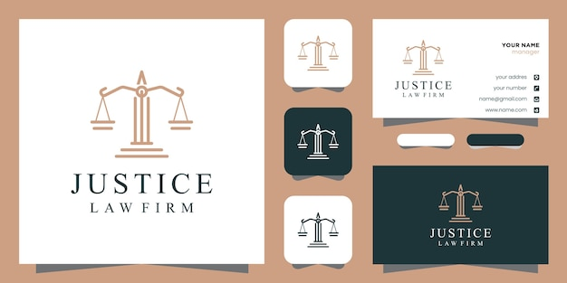 法的な正義のロゴのデザインのインスピレーションのシンボルと名刺