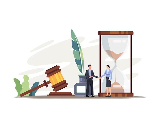 法務司法サービスのイラスト。性格と司法要素を備えた法と正義の概念。フラットスタイルのベクトル図