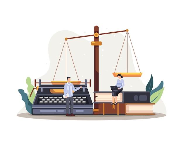 Иллюстрация службы правосудия права. правовая концепция правового регулирования судебной системы хозяйственного договора. вектор в плоском стиле