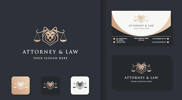 Юридический лев логотип и дизайн визитной карточки