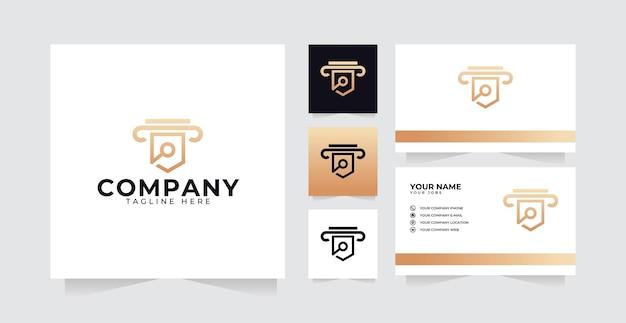 柱のロゴの豪華なデザインと名刺で法的なロゴデザインのインスピレーション