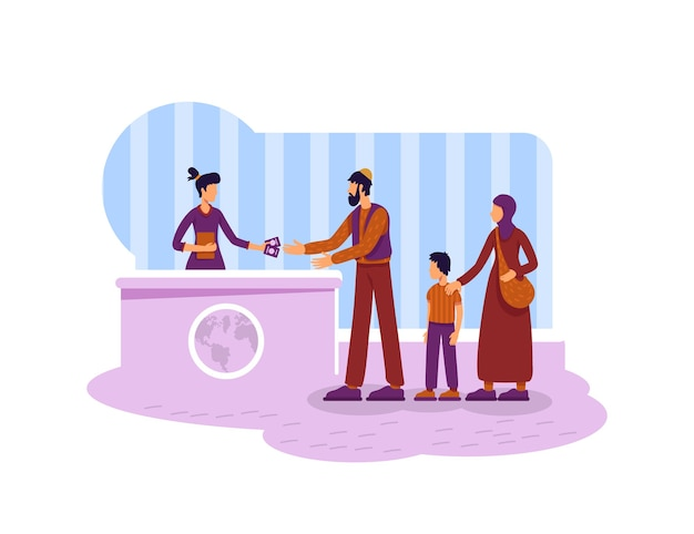 Legal migration 2d web banner, poster. refugees muslim family flat characters on cartoon background. immigrants getting residency visa printable patch, colorful web element