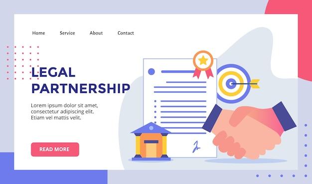 ウェブサイトホームページランディングページテンプレートの法的パートナーシップハンドシェイクコンセプトキャンペーン