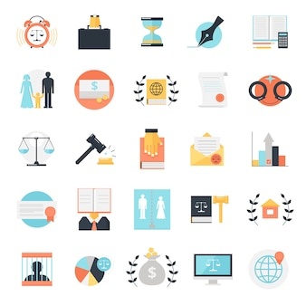 Legal profession icons collection