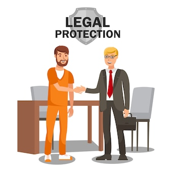 Legal protection services flat banner template