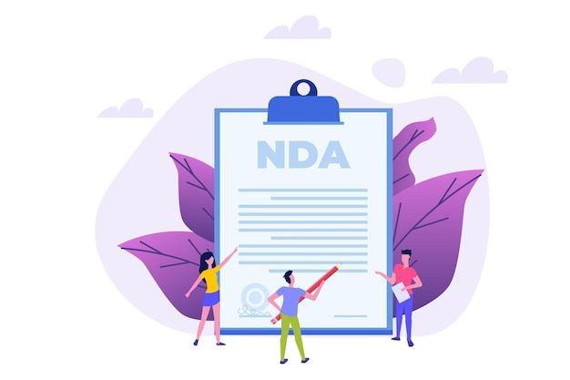 Legal restrictions,  non-disclosure agreement contract or nda  concept. vector illustration with tiny people.