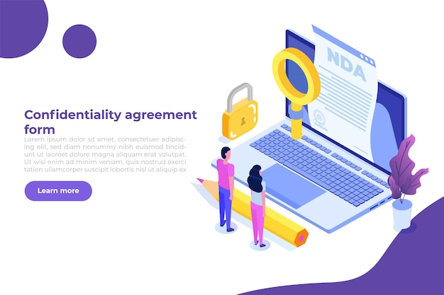 Legal restrictions,  non-disclosure agreement contract or nda icon. isometric vector illustration.