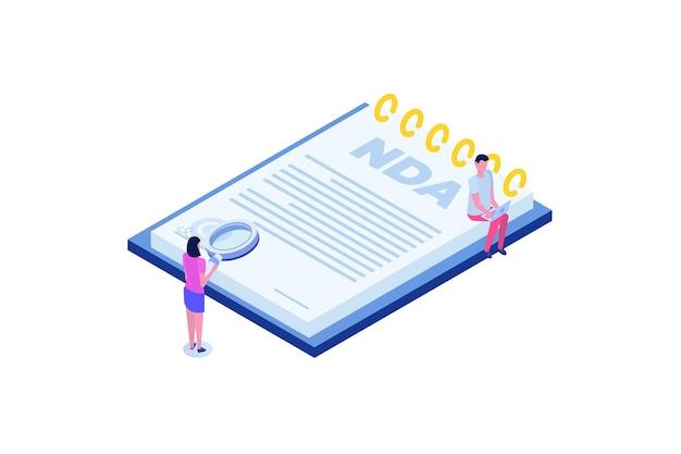 Юридические ограничения, договор о неразглашении информации или концепция nda. изометрические векторные иллюстрации с крошечными людьми.