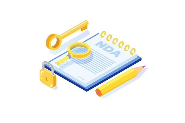 Юридические ограничения, договор о неразглашении информации или значок nda. изометрические векторные иллюстрации.