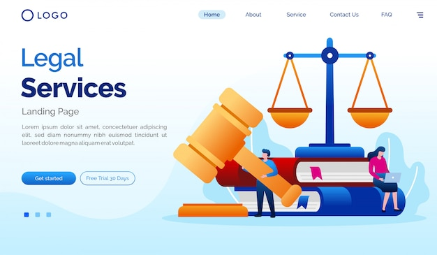 Legal service landing page website illustration template