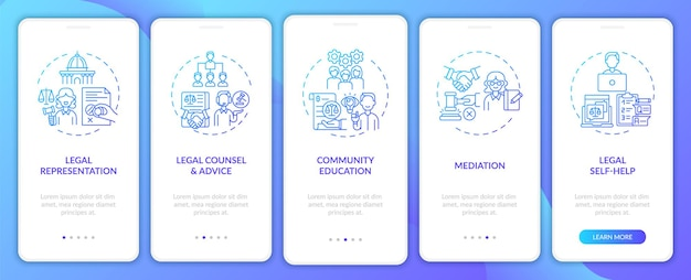 Legal services categories onboarding mobile app page screen
