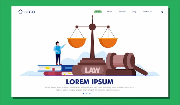 Legal services landing page website illustration design