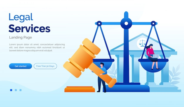 Legal services landing page website illustration flat template