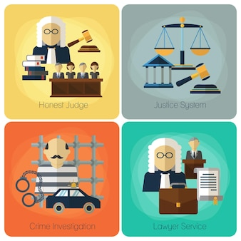 Legal services, law and order, justice flat concept set.