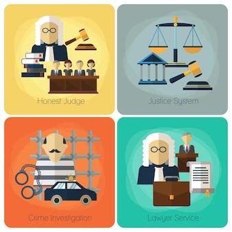 Servizi legali, legge e ordine, set piatto concetto di giustizia.