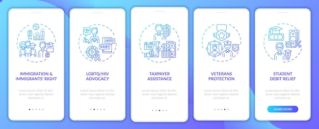 Legal services types onboarding mobile app page screen