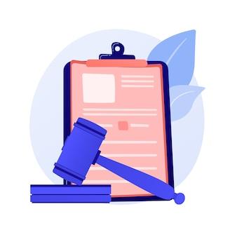 Юридическое заявление. уведомление суда, решение судьи, судебная система. юрист, поверенный изучает бумаги мультипликационного персонажа.