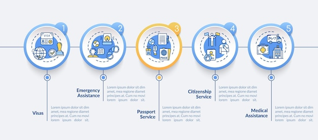 법률 지원 벡터 infographic 템플릿입니다. 대사관 서비스 프레젠테이션 디자인 요소. 5단계로 데이터 시각화. 프로세스 타임라인 차트. 선형 아이콘이 있는 워크플로 레이아웃
