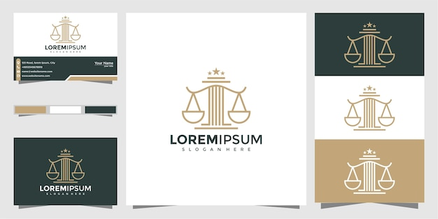 Legal symbol of justice. law offices, law firm, attorney services, luxury logo design template and business card