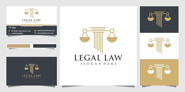 Юридический символ справедливости. юридические бюро, юридическая фирма, услуги адвоката, роскошный шаблон дизайна логотипа и визитная карточка