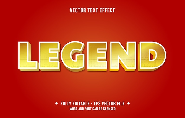 Legend editable text effect modern gradient gold style