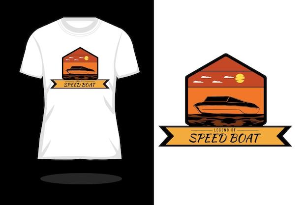 スピードボートシルエットレトロtシャツデザインの伝説